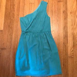 Cyan by Shoshanna One Shoulder Teal Blue Dress
